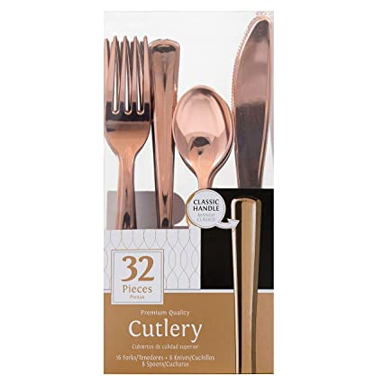 Pack of 32 Rose Gold Premium Assorted Plastic Cutlery