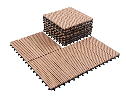 Superb GOLDEN MOON Deck Tiles Interlocking Wood Plastic Composites Patio Pavers  1x1FT 10 Pack Brown