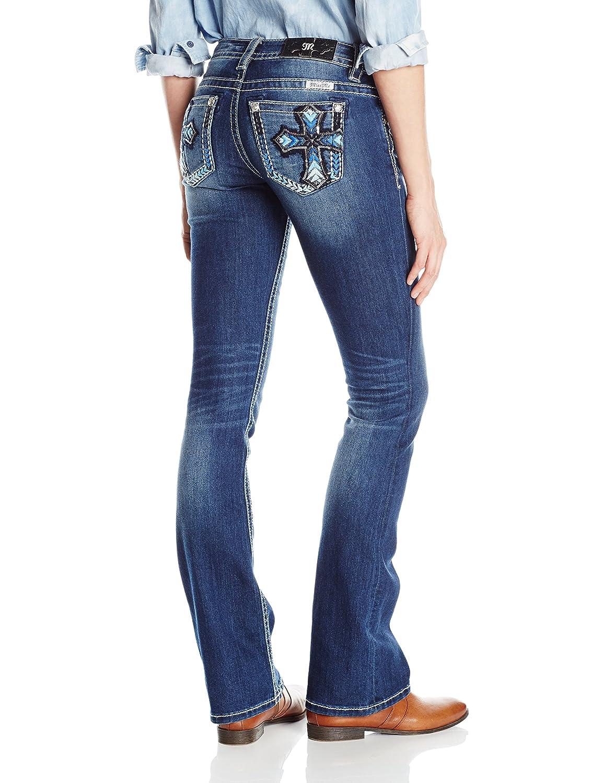 Miss Me Womens Embroidered Cross Boot Cut Denim Jean