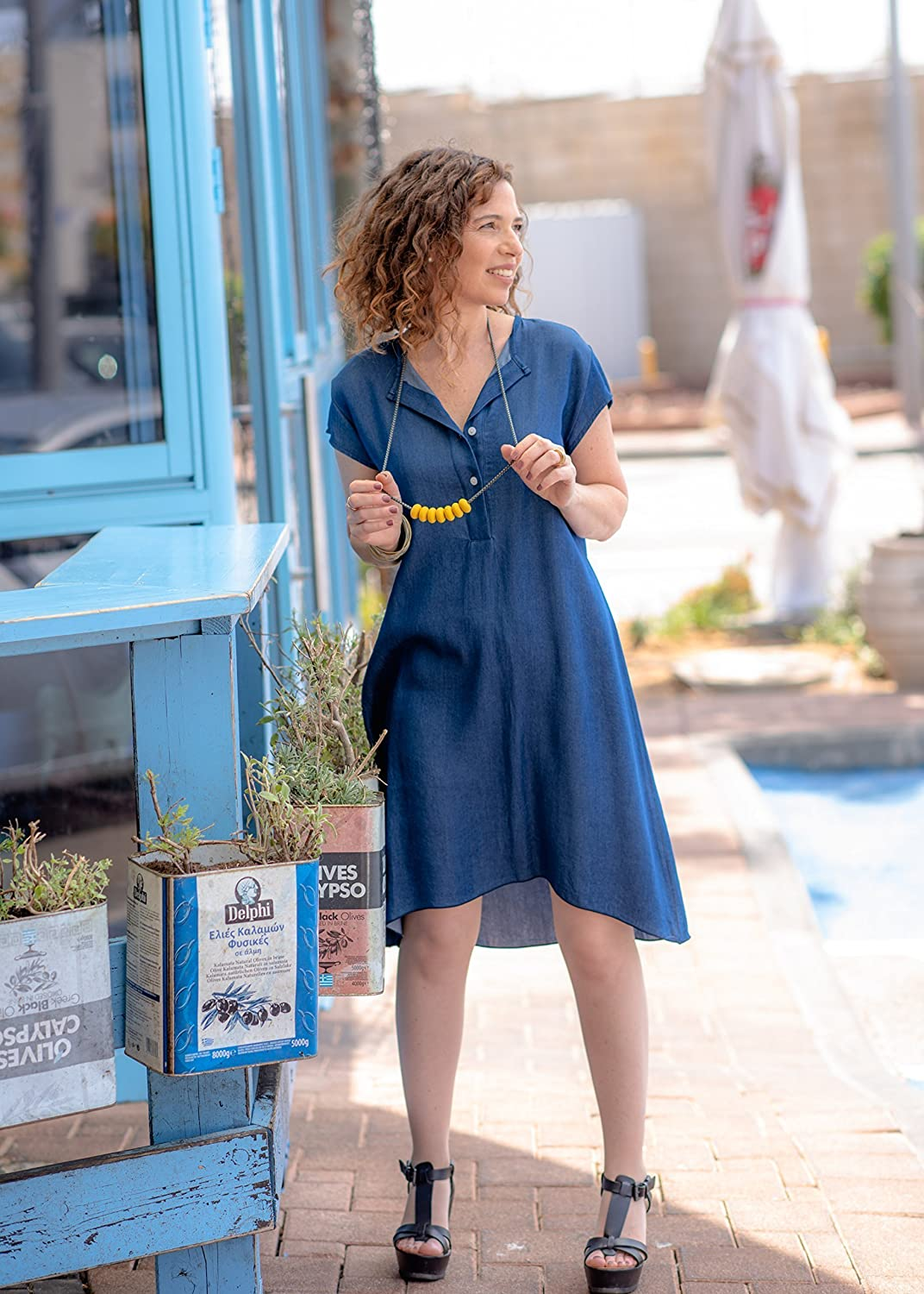 9839754ed3 Amazon.com  Handmade Designer Women s Oversized Spring or Summer Blue Denim  Dress