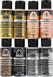 FolkArt Metallic Acrylic Craft Paint Set Formulated to be Non-Toxic that is Perfect for Beginners and Artists, 8 Count, 2 oz, 16 Fl Oz