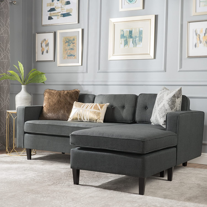 Christopher Knight Home Windsor Living Room | 2 Piece Chaise Sectional Sofa  | Scandinavian, Mid Century Design | Dark Grey Fabric