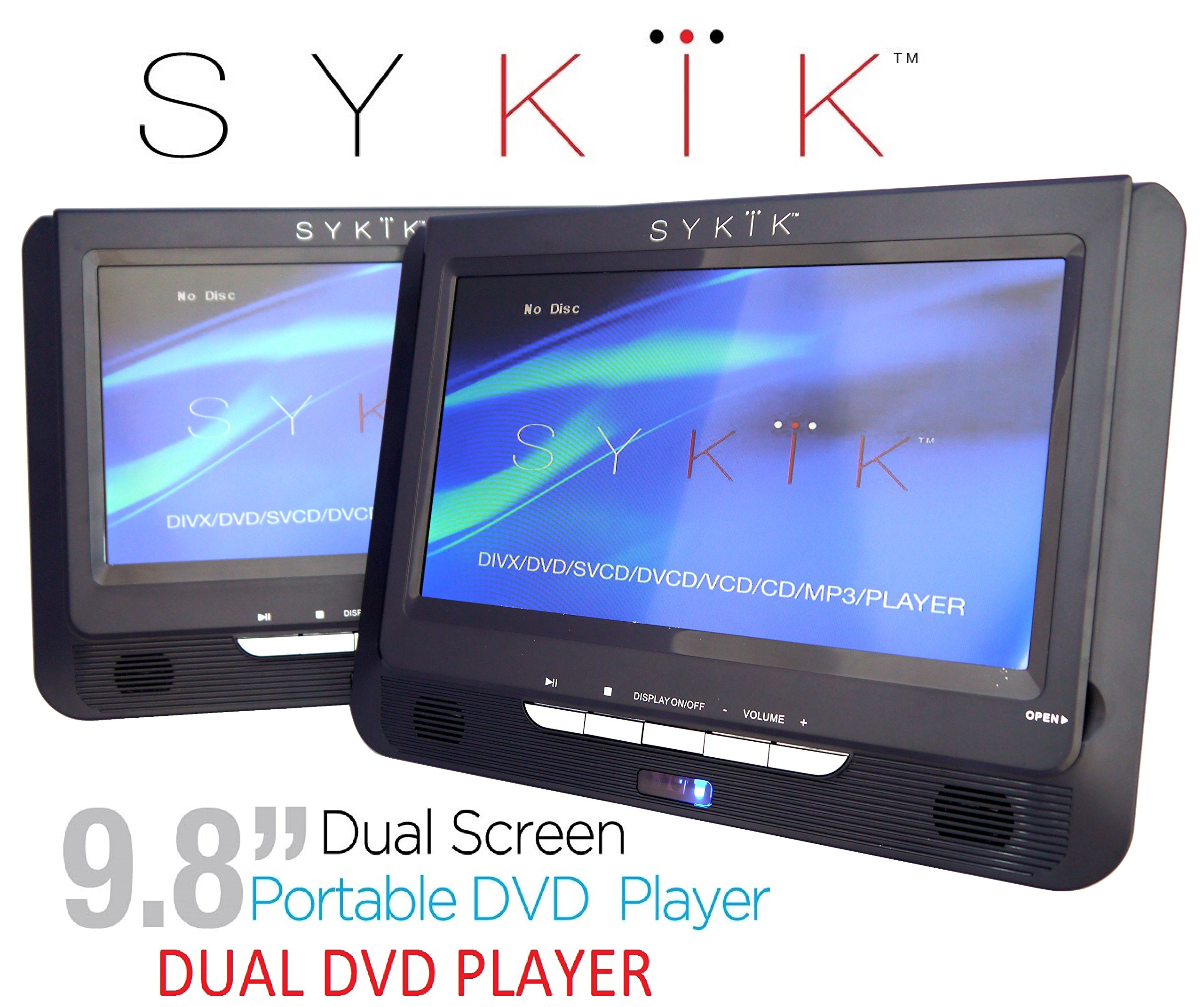 "Sykik 9.8"" Dual screen, dual DVD player. Both W/ built-in rechargeable battery. Play single or different DVDs. For use in car , home or on the go. Region free for worldwide use. by Sykik"