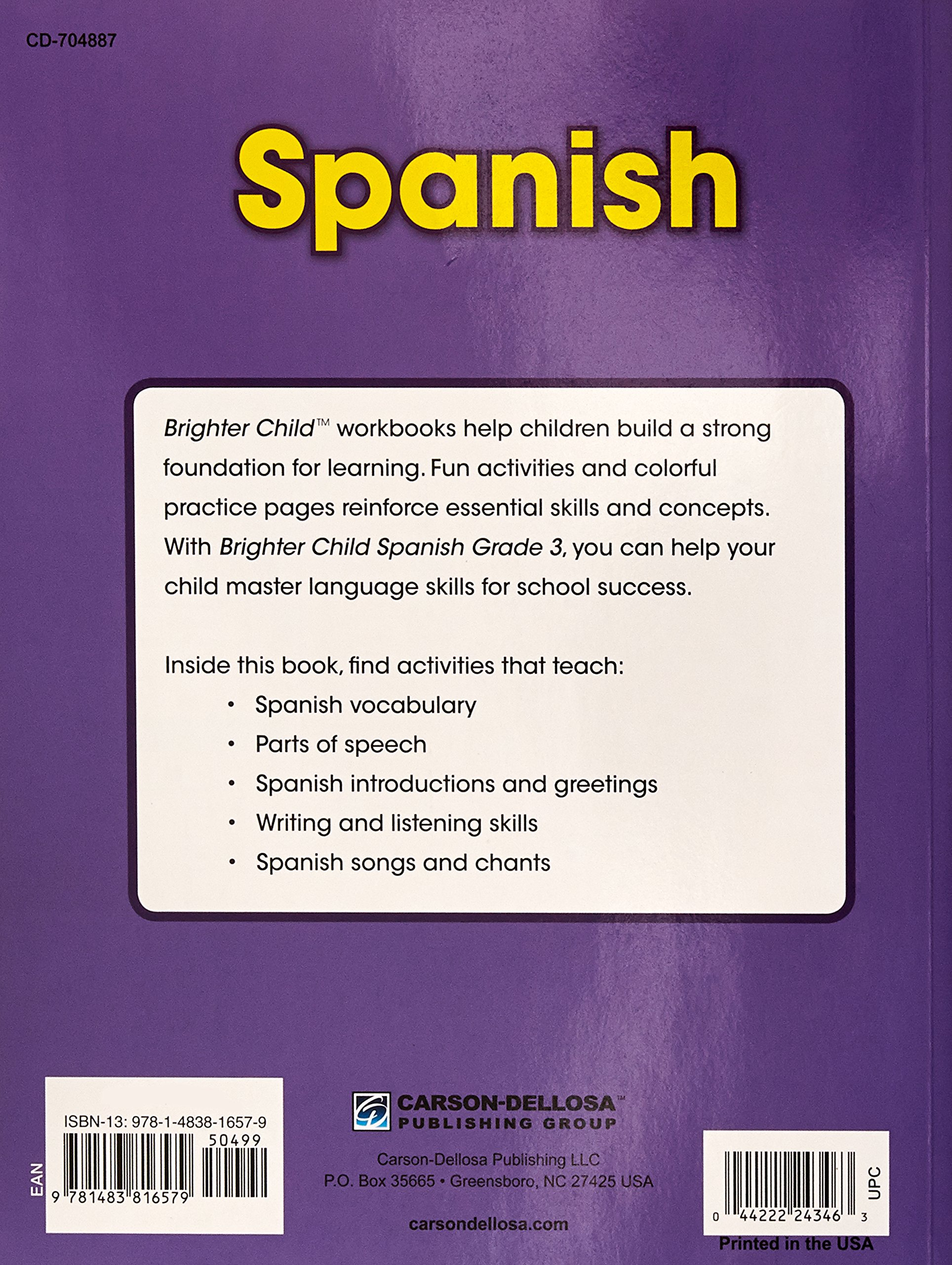 Spanish Workbook Grade 3 Brighter Child Carson Dellosa Publishing
