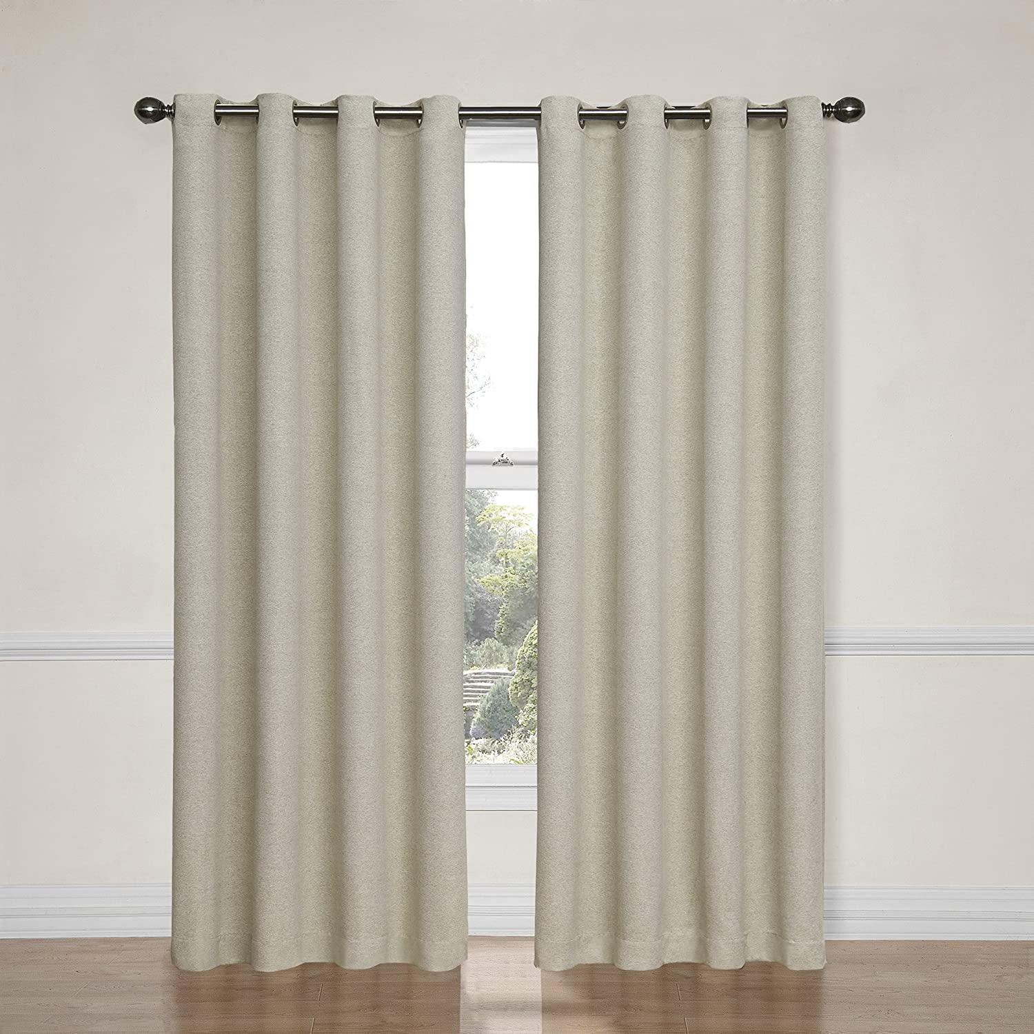 peice curtains panels ivory curtain voile swags o black drop ebay set itm