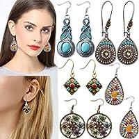 monochef Bohemian Vintage Dangle Earrings for Women Girls Ethnic National Style Petal Beaded Statement Hollow Water Drop...