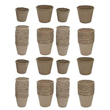 Black Duck Brand Set of 80 Peat Pots Seed Planters in 2 Sizes (32-3) & (48-2.5)