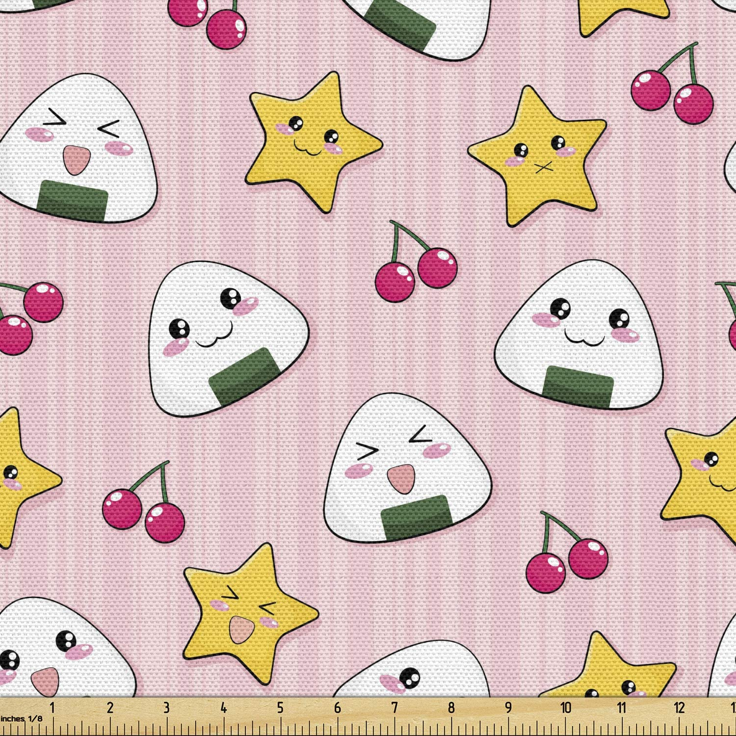 Ambesonne Japan Fabric by The Yard, Japanese Foods Rice Ball Cherries Kawaii Anime Pattern Design, Decorative Fabric for Upholstery and Home Accents, 3 Yards, Pink