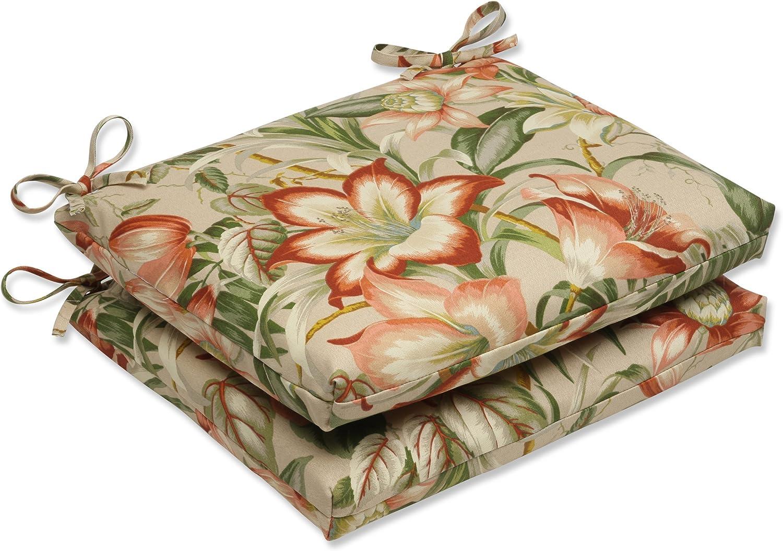 Pillow Perfect Outdoor Botanical Glow Tiger Stripe Squared Corners Seat Cushion, Set of 2