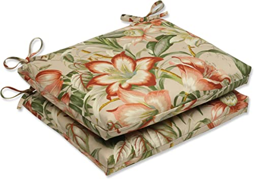 Pillow Perfect Outdoor Indoor Botanical Glow Tiger Stripe Square Corner Seat Cushions, 18.5 x 16 , Floral 2 Pack