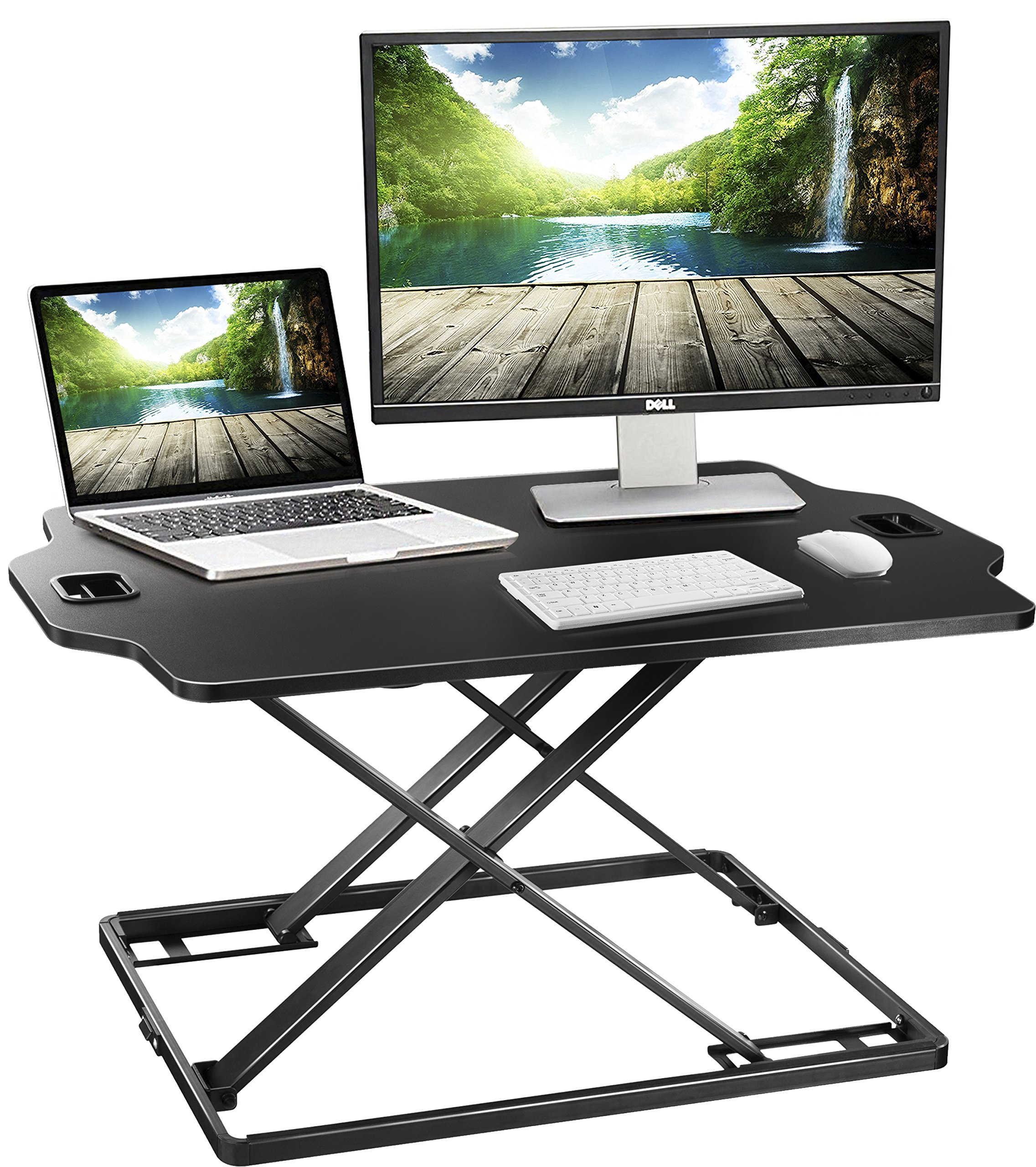 Standing Desk Converter - Height Adjustable Sit Stand up Desk Riser Platform Station - Ultra Slim Desktop Standing up Workstation 32'' Black