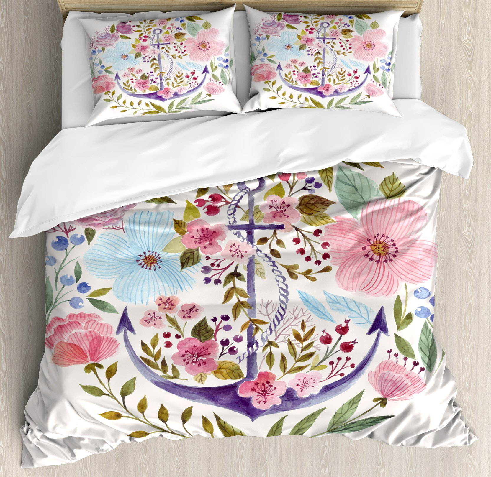 Kitchen Decor Duvet Cover Set by Ambesonne, Nautical and Floral Design Anchor Flowers Watercolor Bouquet Marine Symbol Theme, 3 Piece Bedding Set with Pillow Shams, Queen / Full, White Pink Green
