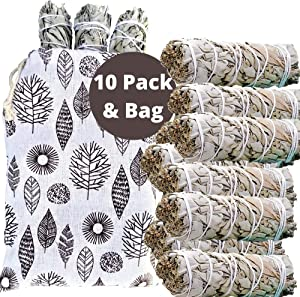 SAGE SMUDGE Sticks, 10 White Sage Bundles Bulk Refill & Shaman Smudge Kit Storage Bag! California White Sage Smudging Sticks, Organic Freshly Dried Incense Sage Stick Set, Sustainable! (10, Large Bag)