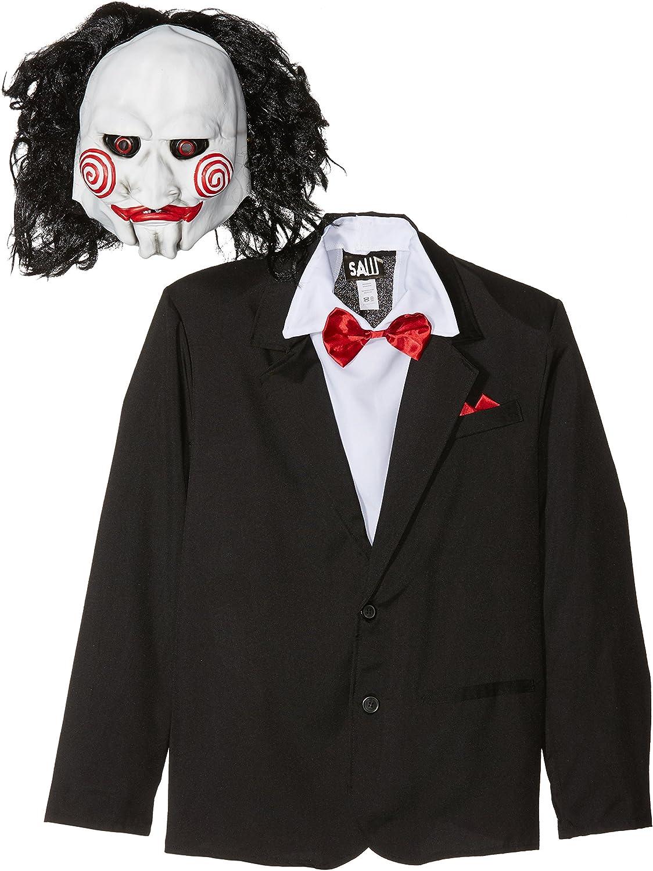 Smiffy'S 20493M Disfraz De Saw Jigsaw Con Careta, Americana Camisa Y Falso Chaleco, Negro, M - Tamaño 38