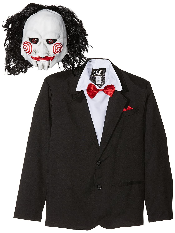 SmiffyS 20493M Disfraz De Saw Jigsaw Con Careta, Americana Camisa Y Falso Chaleco, Negro, M - Tamaño 38