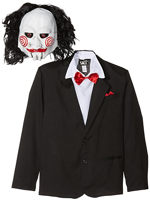 SmiffyS 20493M Disfraz De Saw Jigsaw Con Careta, Americana Camisa Y Falso Chaleco, Negro
