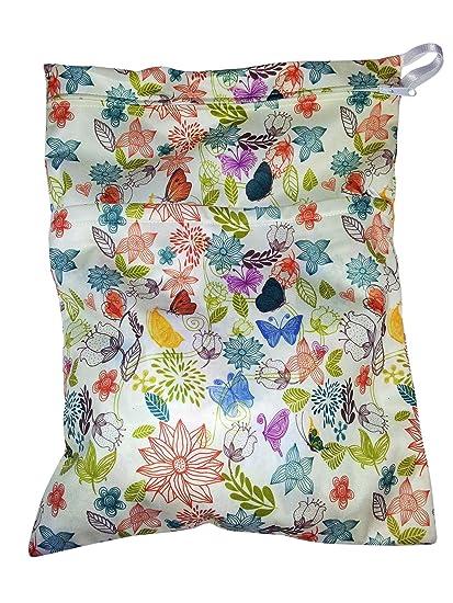 Pañal mojado bolsa de fieltro corazón con Floral impresión dos compartimientos de almacenamiento Media para limpia
