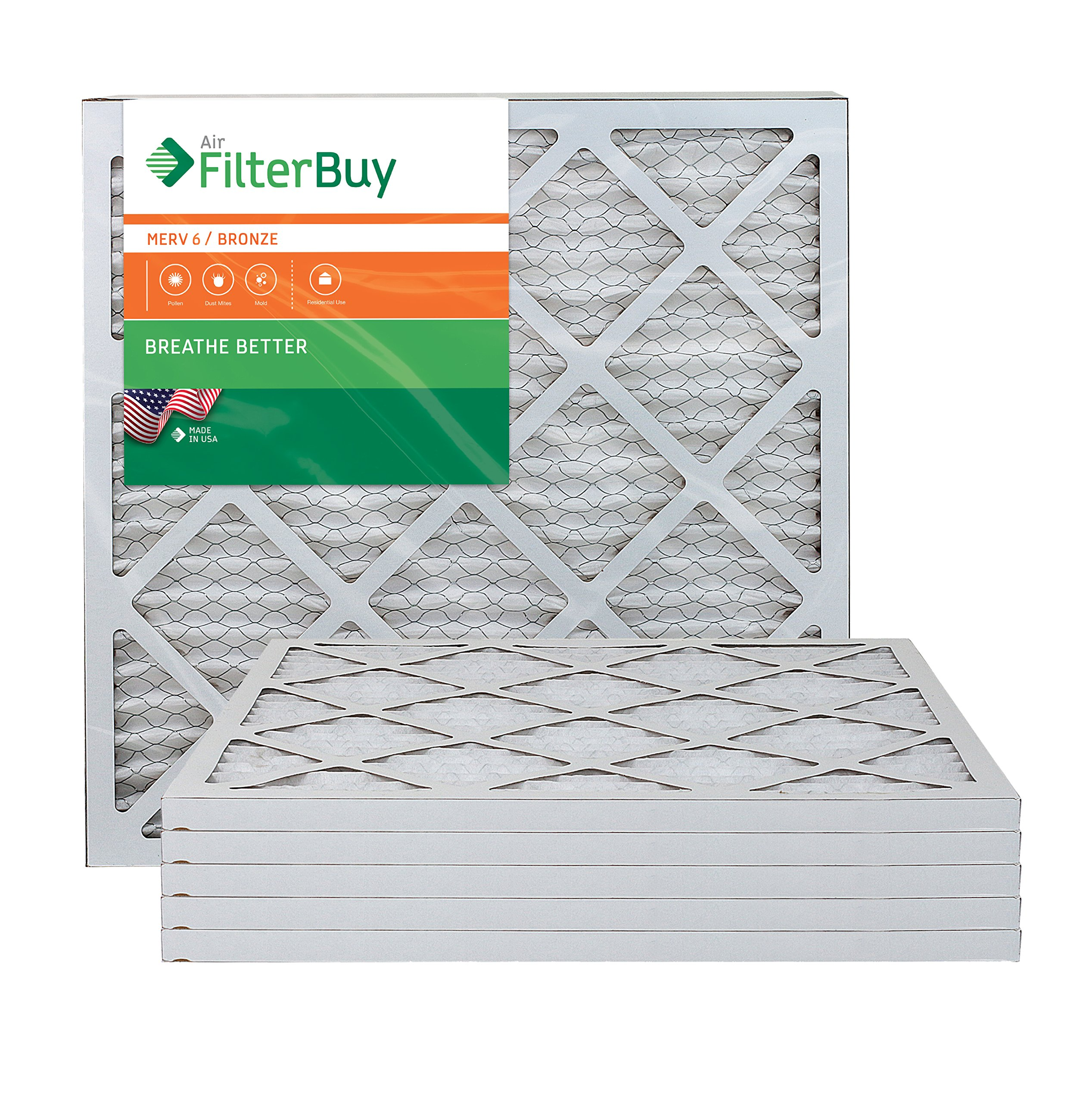 AFB Bronze MERV 6 20x20x1 Pleated AC Furnace Air Filter. Pack of 6 Filters. 100% produced in the USA.