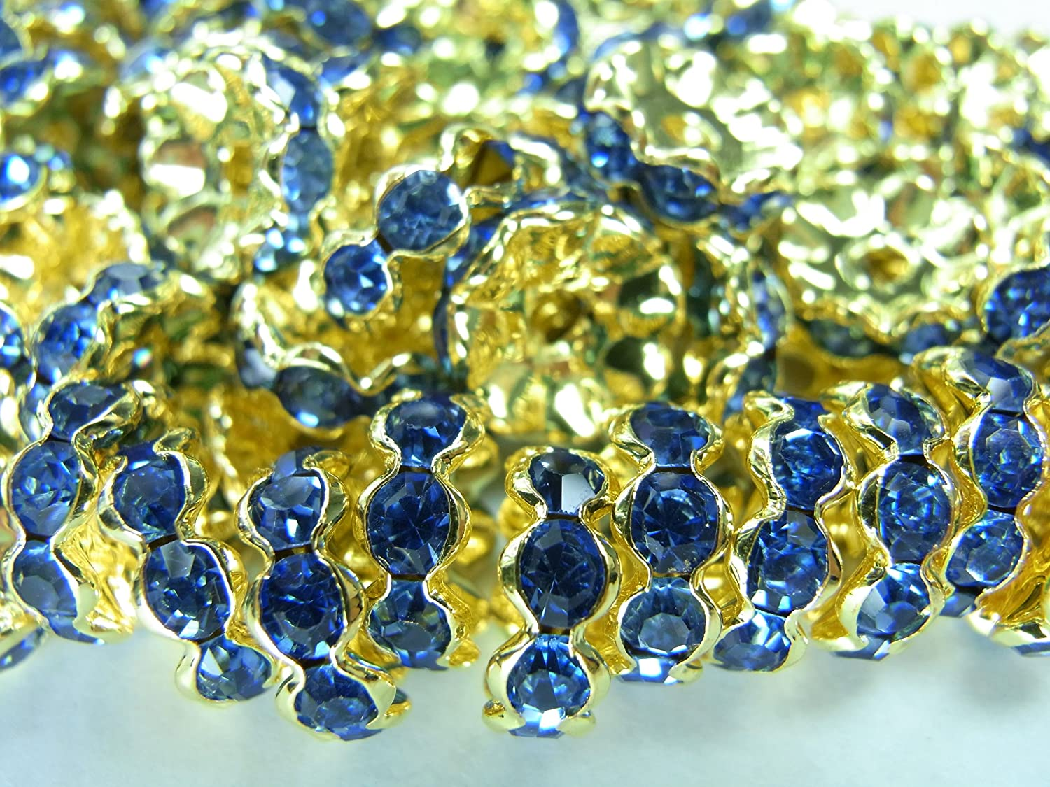 [gold frame light bluee] [10mm] about 100 pieces Rondel wave (japan import)