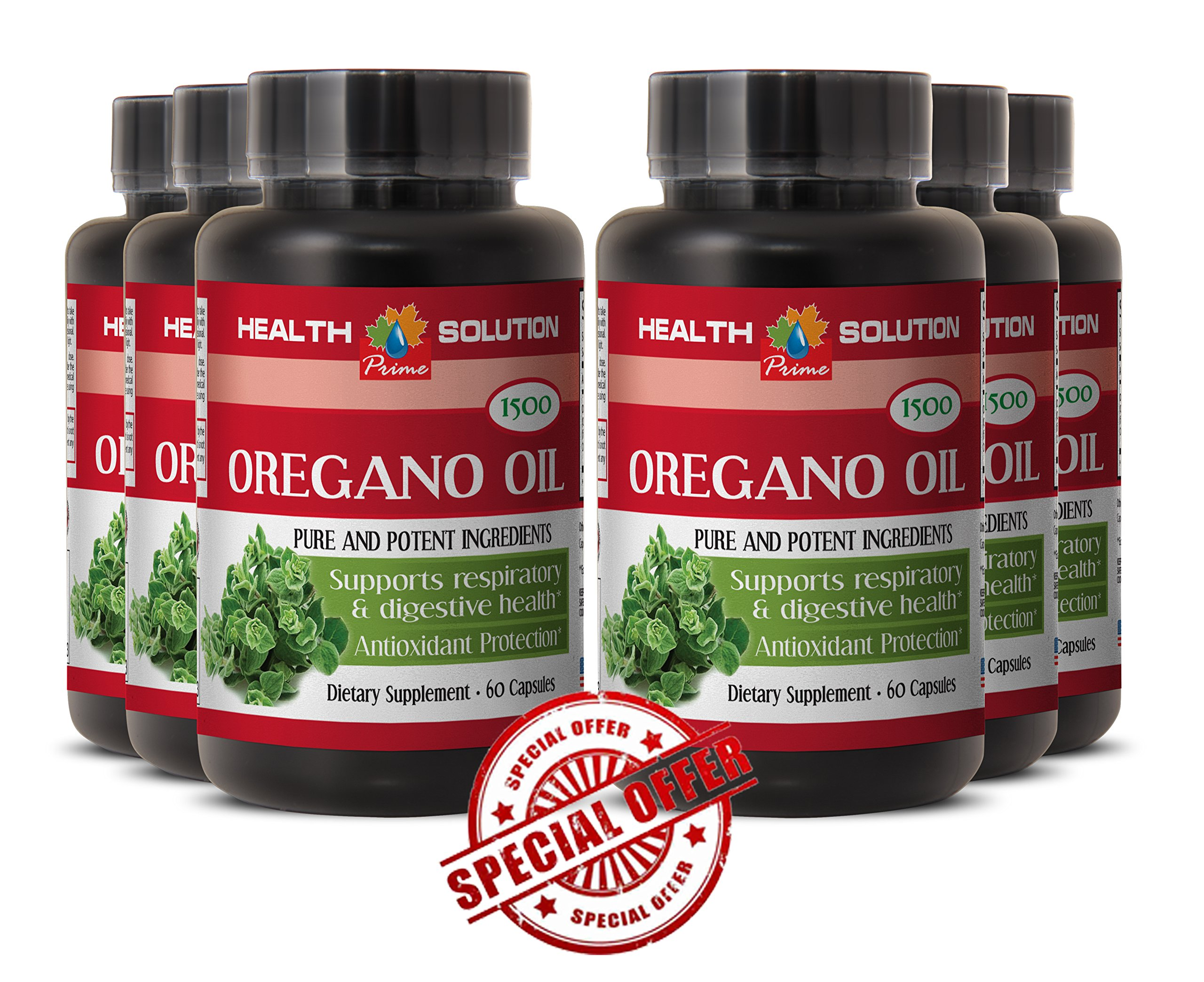 Weigh loss natural aid - PURE OIL OF OREGANO EXTRACT 1500 Mg - Antioxidant supplement Oregano oil extract - 6 Bottles 360 Capsules