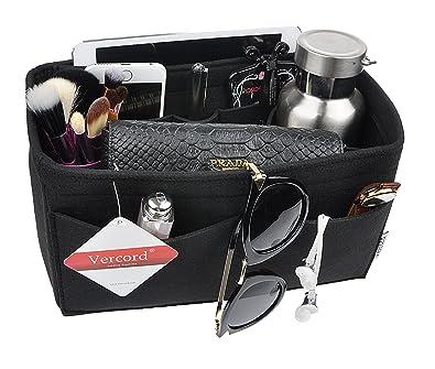 Vercord Purse Organizer Insert Felt Neverfull Bag Handbag Tote Organizer In  Bag Shaper Liner Black Small c9e190a46464c
