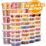 Glotoch Deli 塑料食品容器带盖,防漏超薄小型组合套装 [可重复使用,厨房存储,午餐准备,汤,分量控制,洗碗机,微波炉和冷冻* 透明 8oz 24pack+16oz 24pack 2312226CL10-GLO-US-AM-NEW1