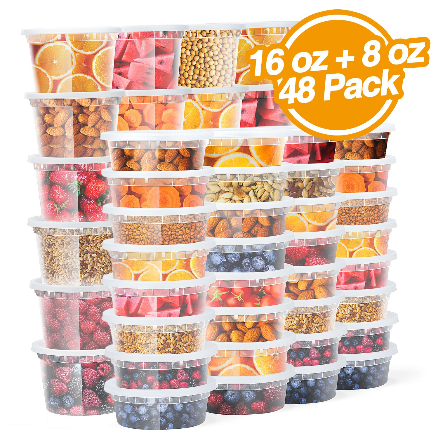 Glotoch Deli containers Food Storage Containers with Lids 8oz, 16oz Freezer Deli Cups Combo Pack, BPA-Free Leakproof Round Clear Takeout Container Meal Prep Microwavable (48 PACKS - Mixed sizes)