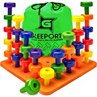 Gleeporte Stacking Peg Board Set Toy - Montessori Occupational Therapy Early Learning for Fine Motor Skills, Ideal for Toddlers and Preschooler, Includes 30 Plastic Pegs & 1 Board