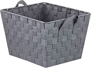 Home Basics Non-Woven Strap Handle Bin, Storage Basket Organizer, (Grey, Medium)