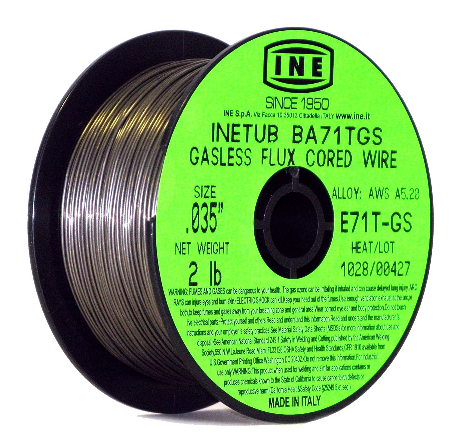 INETUB BA71TGS .035 Inch on 2 Pound Spool Carbon Steel Gasless Flux Cored Welding Wire