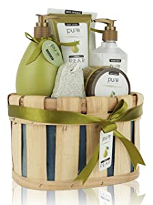 Spa Gift Basket, PURE Spa Basket -Bath and Body Gift Set, Includes Shower Gel, Body Lotion, Bubble Bath, Body Scrub & Bath-Body Sponge. #1 Holiday Gift Baskets for Women!