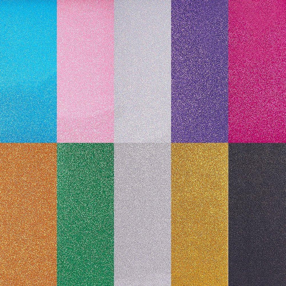 nbeads 24,9x 30,5cm 10Blatt Farben Sortiert Wärmeübertragung Vinyl Blatt, Eisen auf Sparkle Vinyl Pack für Silhouette Cameo, Cricut oder Verwendung mit Hitzepresse Maschine Werkzeug 9x 30