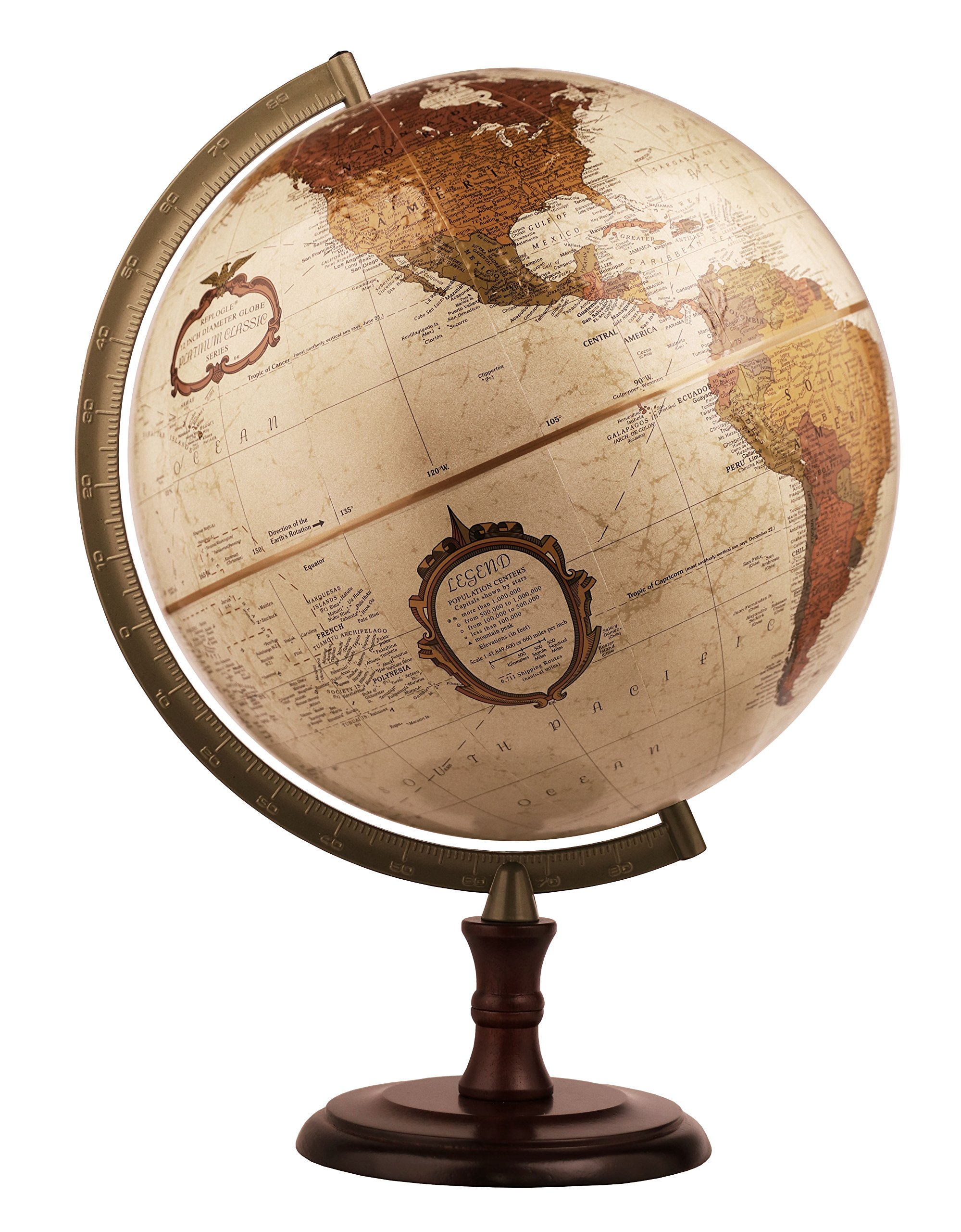 Replogle Superior- Bronze Metallic Desktop World Globe, Raised Relief (12''/30cm Diameter) Made in USA by Replogle