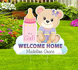 Cute News Welcome Home New Baby Teddy Bear Yard Sign, Custom Name Its a Girl, Personalized Lawn Birth Announcement, Newborn Arrival Stork Decoration Cards