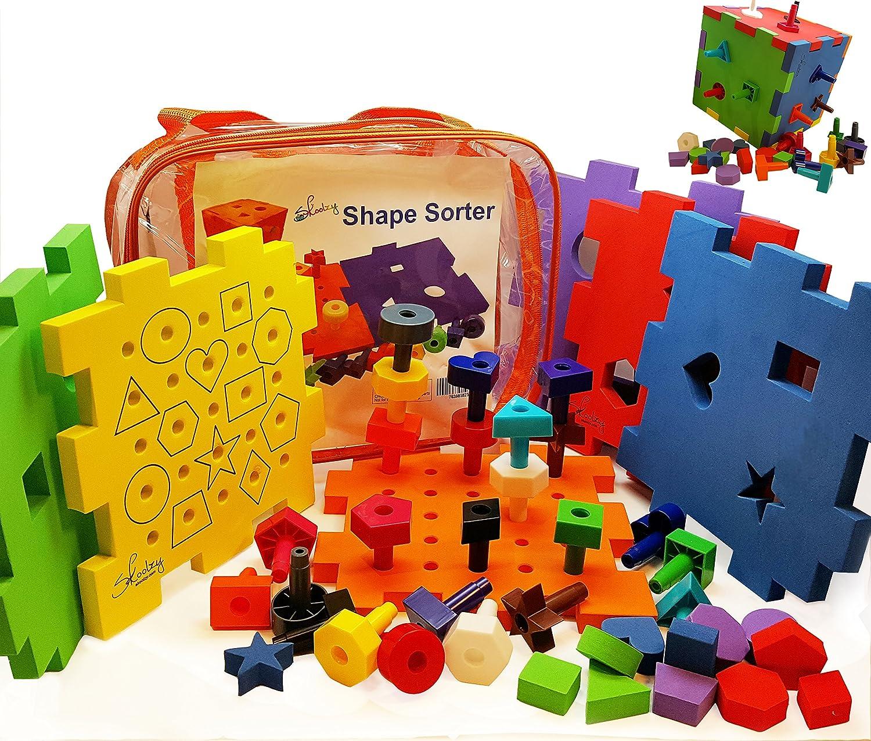Peg Board Set Shape Sort Activity Block Kids Toddler Boy