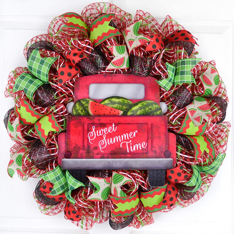 Red Lime Green Emerald Farm Truck Spring Door Decor Watermelon Door Wreath Sweet Summertime