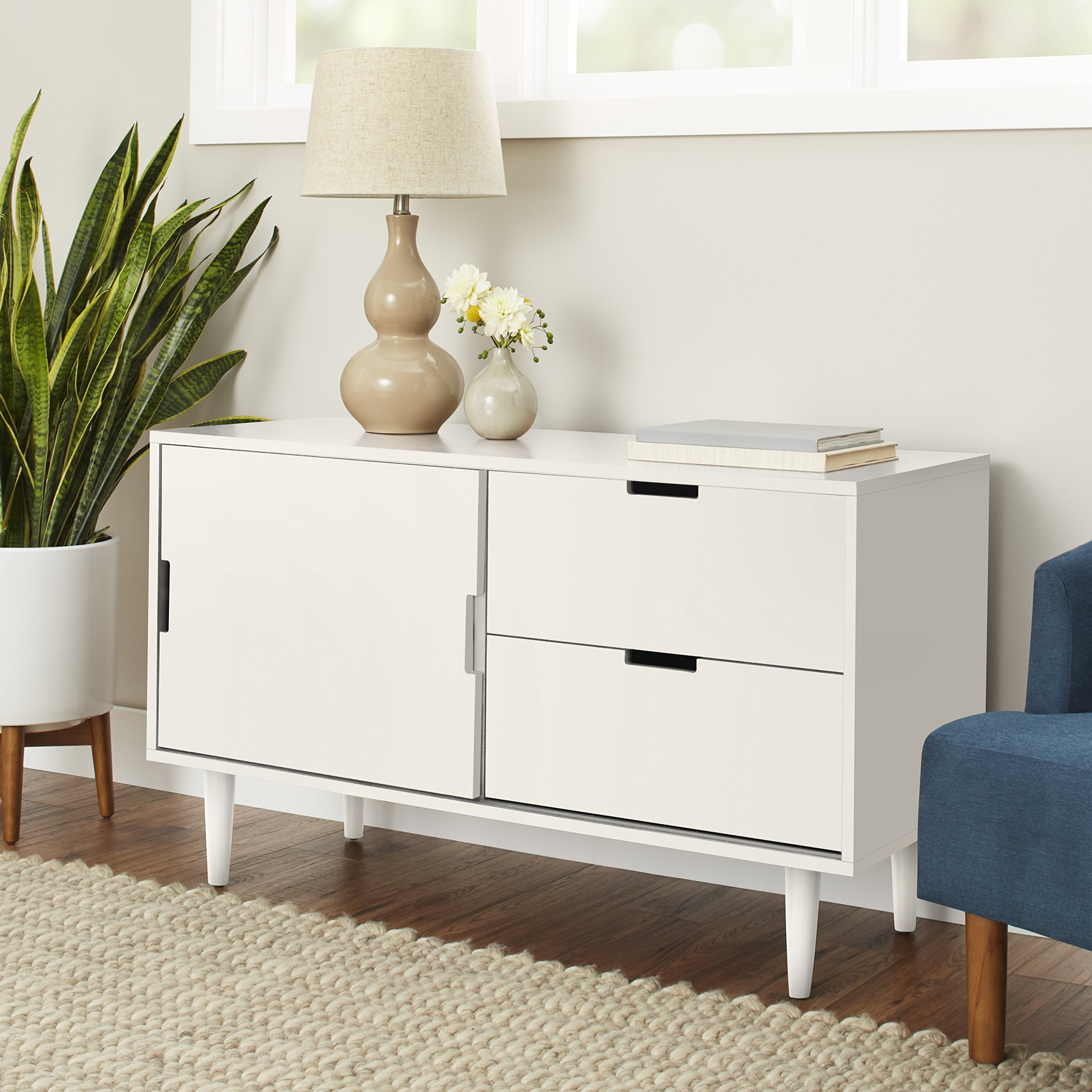Better Homes and Gardens Flynn Mid Century Modern Credenza, White by Better Homes and Gardens (Image #1)