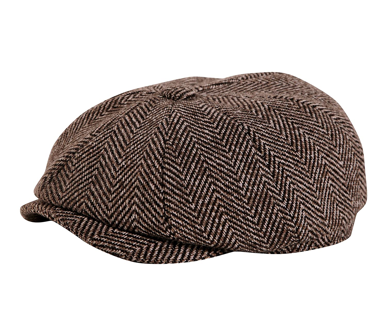 Gamble & Gunn, berretto di tweed con bottone, stile 'Shelby' della serie tv Peaky Blinders