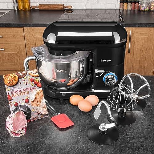Savisto 800w Retro Food Stand Mixer With 5.5L Bowl, Splash Guard, Dough Hook, Whisk, Beater & 2 Year Warranty – Black