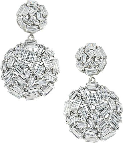 925 Solid Silver Crystal CZ Round Dangle Ear Stud Earrings Bar