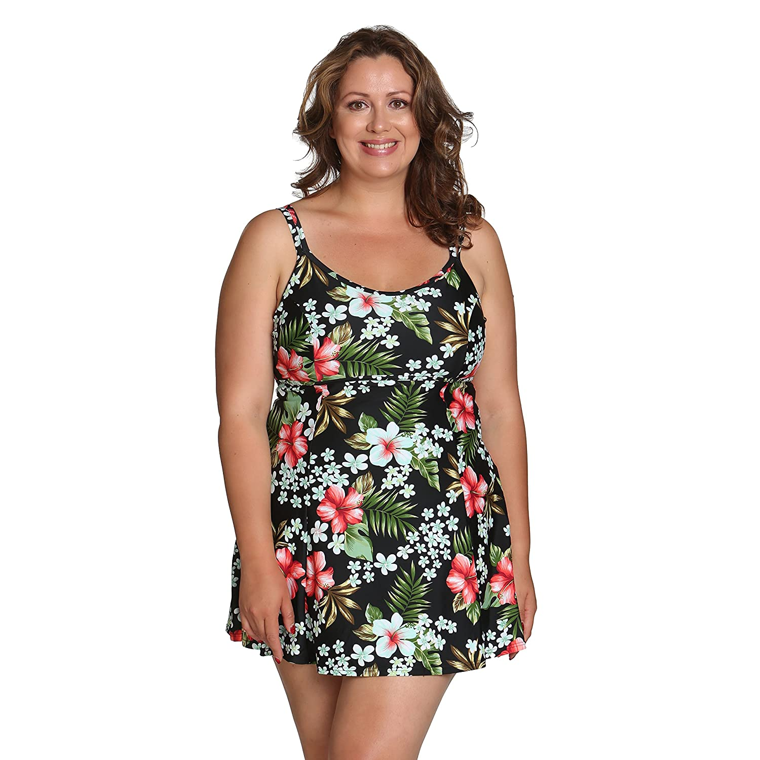 e1cb7ba18794e Island Pearls Island World Plus Size Women s Swimsuit Solid Floral Design  Baby Doll One Piece with Tummy Control Hawaiian Floral 22 at Amazon Women s  ...