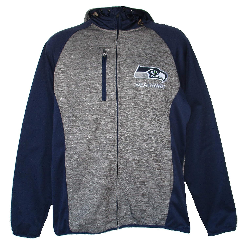 NFL チームアパレル シアトル シーホークス 大人サイズ M フルジップフード付きスウェットシャツ - チャコールグレー   B07GC7PGV4