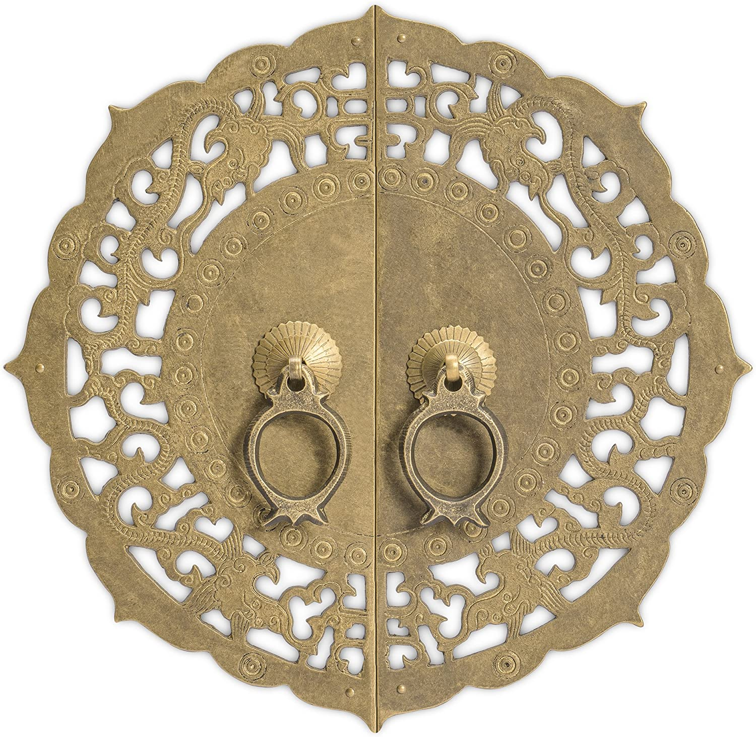CBH Flowering Lotus Brass Cabinet Face Plate Backplate Hardware Set 9-7/8