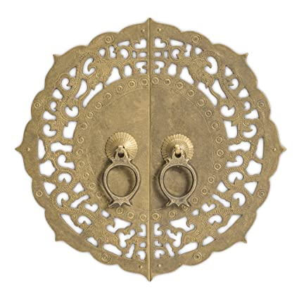 Charmant Chinese Brass Hardware Flowering Lotus Cabinet Face Plate 9 7/8u0027u0027