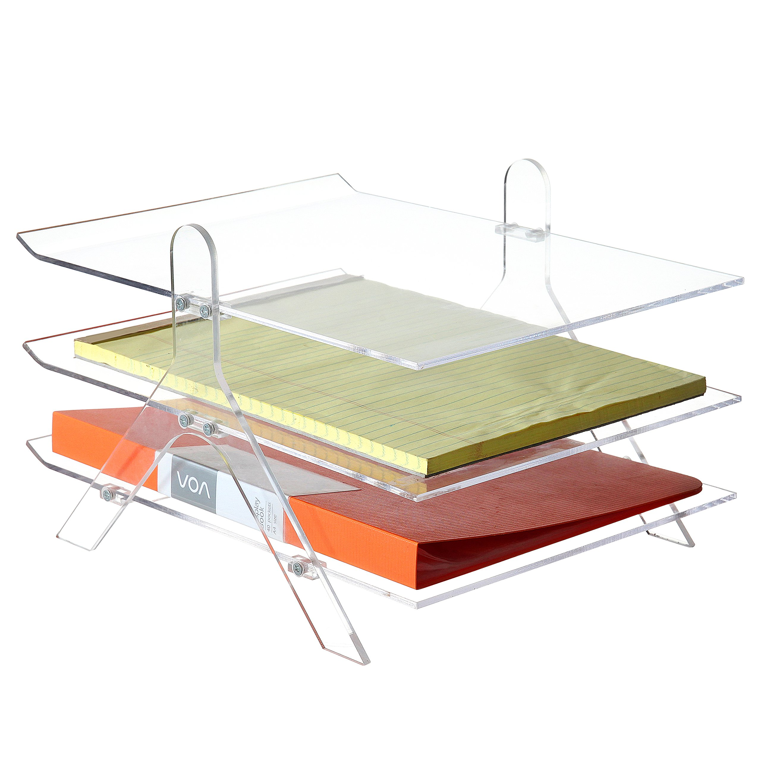 Clear Acrylic 3-Tier Office Desktop Document Tray & File Folder Organizer Rack