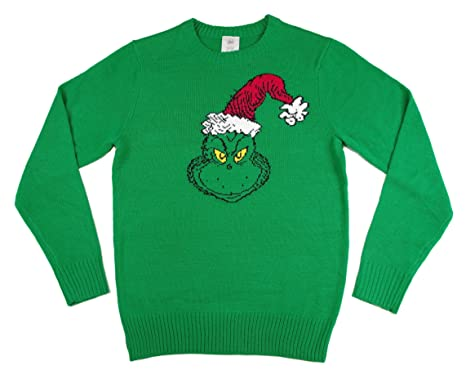grinch face with santa hat ugly christmas sweater small