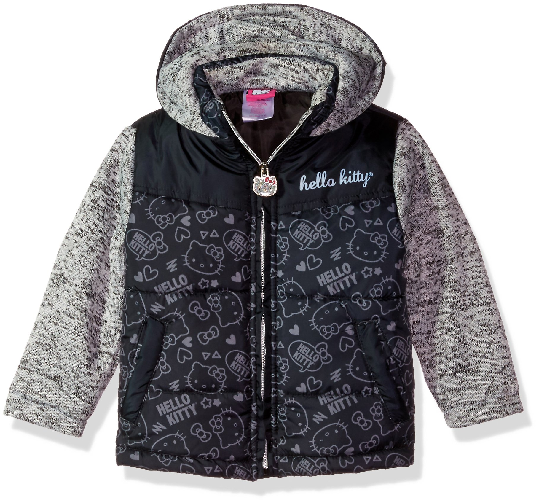 Hello Kitty Toddler Girls' Printed Puffer Jacket with Sweater Sleeves, Black, 4T
