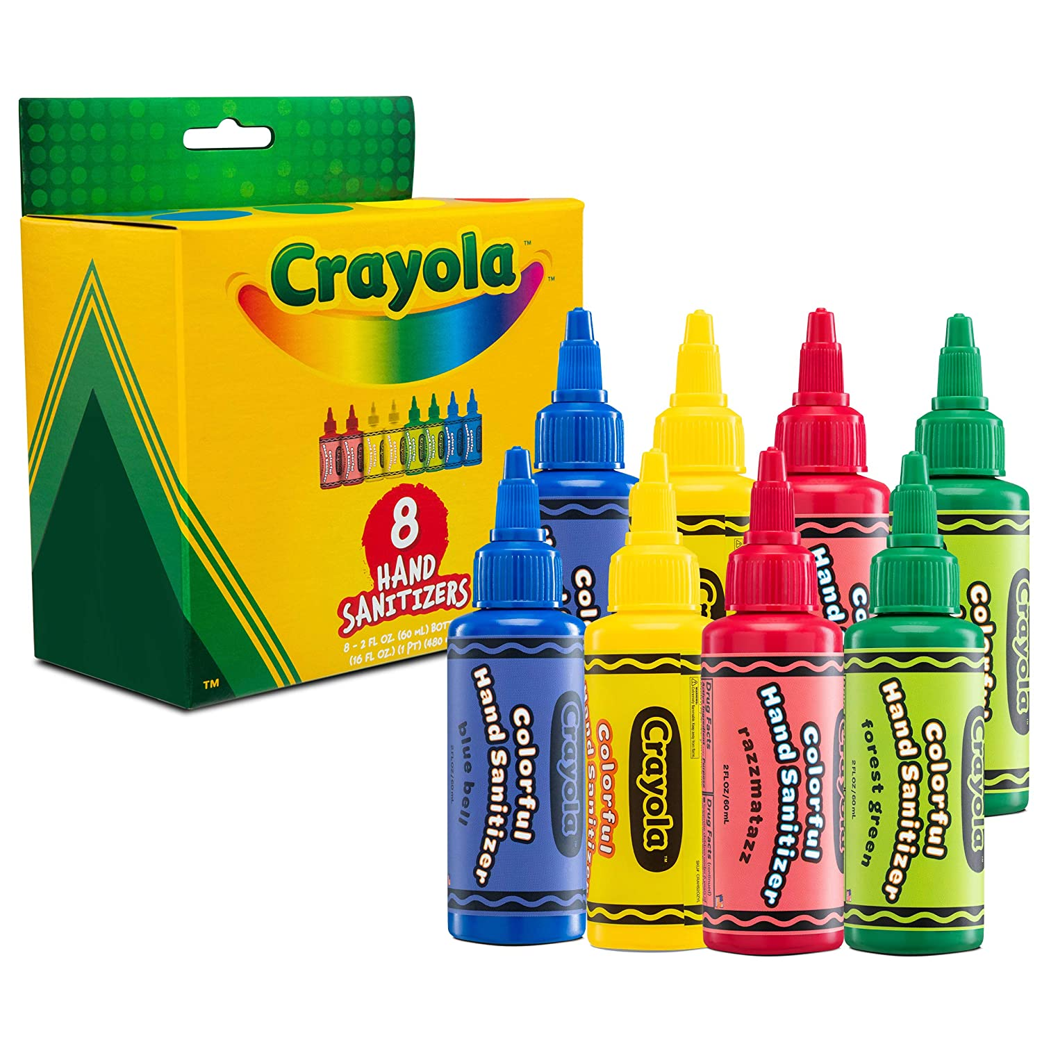 Crayola Hand Sanitizer for Kids | Antibacterial Hand Gel w/75% Alcohol for School Backpack | Kills 99.99% of Germs, Safe for Skin, Soft on Hands, Made in USA | Pack of 8 2oz Mini Travel Size Bottles