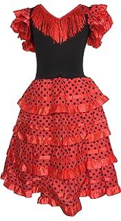 6fcd529a5548 La Senorita Spanish Flamenco Dress Fancy Dress Costume - Girls/Kids -  Red/Black