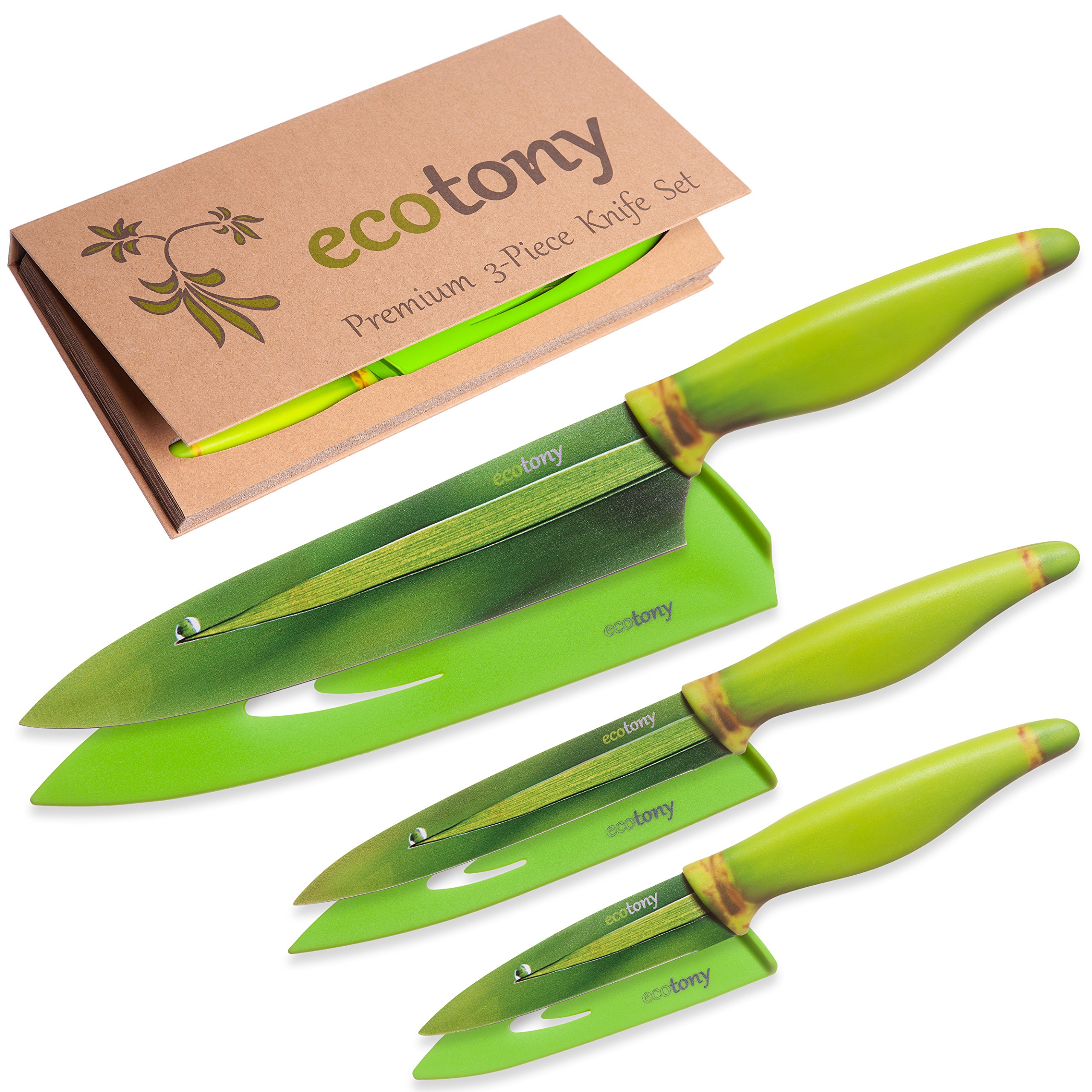Kitchen Knife Set in Gift Box by ECOTONY - 3 Piece Stainless Steel Color Knife Set: Chef, Utility, Paring Knives - Blade Covers - Unique Home Decor Gifts for Men and for Women